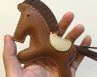 Big size - Beon the cowhide horse charm ( Brown with dark brown mane/tail  )