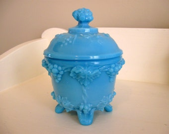 Blue Portieux Vallerysthal Milk Glass Covered Jar Candy Dish Aqua Turquoise French Grape Design