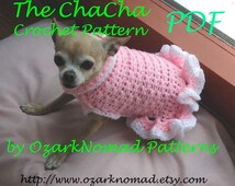 Immediate Download - PDF Crochet Pattern - Cha-Cha Dog Sweater Dress