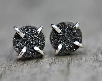 Black druzy earrings - sterling silver earrings - minimalist - everyday earrings - stud earrings - druzy studs - posts - prongs