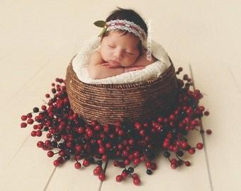 Mistletoe - Cream White Lace Pearl Headband - Olive Green Leaves - Baby Infant Newborn Girls Adult - Christmas Holiday
