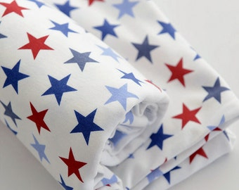 3963 - Colorful Star Cotton Jersey Knit Fabric - 67 Inch (Width) x 1/2 Yard (Length)