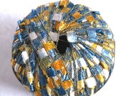 SUNNY SKIES Metallic glitter ladder ribbon yarn, Berlini East Track II,  shades of blue, yellow, white,  135