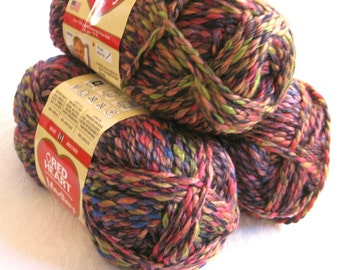 Red Heart Medley yarn, bulky weight yarn, ECLECTIC, reds green mauve rainbow shades