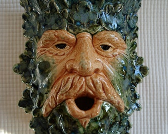 Ceramic Green Man wall sconce Nectar Creek
