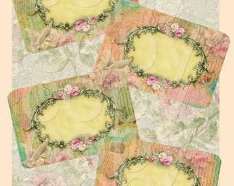 Retro Shabby Chic Labels -  Printable Digital Collage Sheet  - INSTANT DOWNLOAD