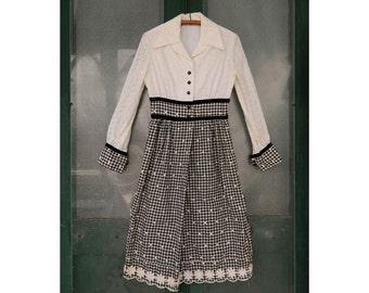 Vintage White Eyelet and Gingham Swiss Dot Dress