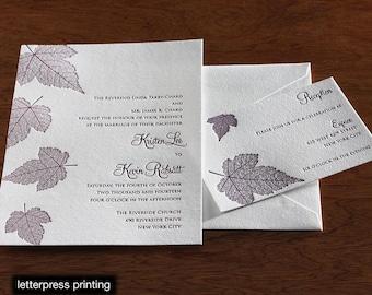 Autumn Letterpress or Digital Wedding Invitations - Set of 100