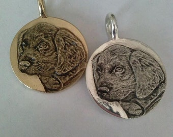 Custom Pet Portrait Large Personalized Sterling Silver 14kt Gold