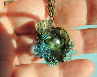 Magical Hummingbird nest on delicate brass chain tiny nest art necklace version two