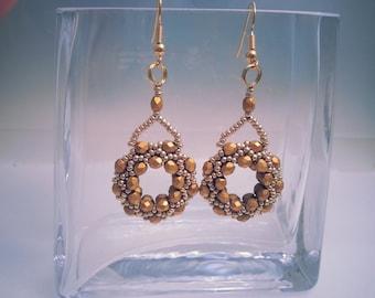 Gold Czech Crystal/Seed Bead Ring Earrings