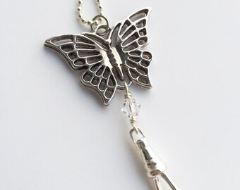 Butterfly Necklace Lanyard, Choose Crystal Color, silver chain id badge lanyard, silver lanyard