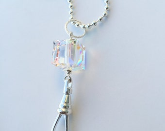 Crystal Cube Necklace Lanyard, silver chain id badge lanyard, silver lanyard