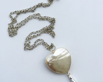 Lanyard Necklace, MOP Heart, silver chain id badge lanyard, silver lanyard