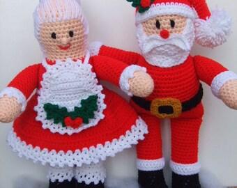 CROCHET PATTERN - CV120 Mr and Mrs Santa Claus - Christmas Crochet Pattern - PDF Download