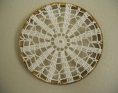 doily art ~ harvest gold ~ vintage embroidery hoop framed doily
