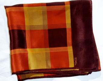 Vintage ECHO PLAID SILK Scarf Foulard Oblong Rectangle 16 x 35