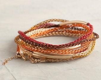 BOHO bracelet, Wearable art jewelry, Women wrap bracelet, Layering bracelet, Red bracelet, Friendship bracelet , Gold beaded bracelet