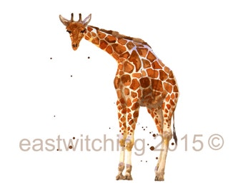Watercolor Giraffe Print, giraffe print, African art, 8x10 print, kids wall art, safari animals