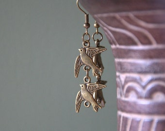 Swallow long dangle earrings necklace Valentine gift for her jewellery bronze chain Birthday gift for her