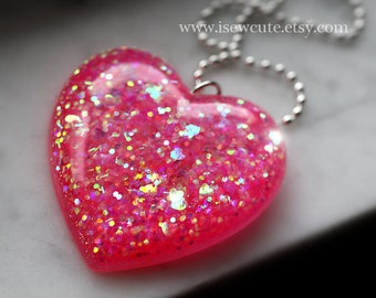 Resin Jewelry - Pink Heart Necklace- Glitter - Sparkly Hot Pink Glittery Heart Shaped Resin Pendant, Statement Necklace Handmade by isewcute