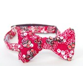 magenta floral freestyle bow tie