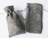24 LARGE Grey Burlap Bags Natural Pouch Pouches Jewelry Party Favor 3.75 x 6.5 Linen Gray Packaging Fabric