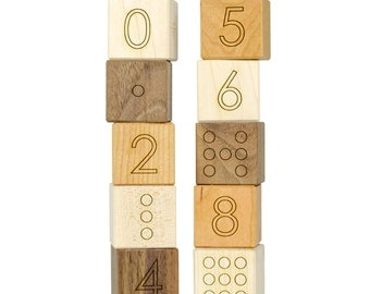 Number Blocks Wood Toy - Number toy - Wooden Blocks - Baby Blocks - Learning Wood Toy - Toddler Gift - Developmental Toy - Counting -BL17