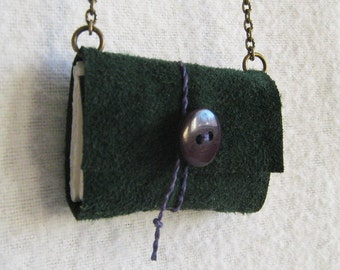 Miniature Book Necklace / Book Jewelry / Green Leather / Book Pendant / Recycled Booklace by PrairiePeasant