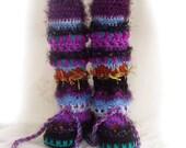 Crochet Slipper Boots Awesome/ Leg Warmer Combo-Unique colorful crochet slipper boots by FunkyCrochetArt