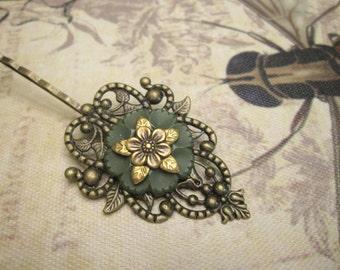 Victorian Hair Clip, Woodland Hair Pin, Filigree, Antique Brass, Olive Green, Floral Hair Clip, Vintage Button Hair Pin, Button Bobby Pin