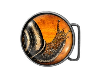 Belt buckle Snail Antiqued Silver Gifts for him Gifts for her