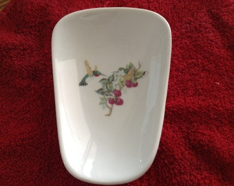"""Ceramic Spoon Rest with Humming Bird with Berries  5"""" Long And 3 1/2 Inches Wide at Top of Spoon"""