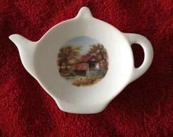 Ceramic Teabag Holder  Covered Bridge 4.5