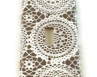 Light Switch Cover Wall Decor Light Switchplate Switch Plate in Lacey Gray (247S)