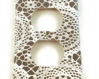 Outlet Plate Light Switch Cover Wall Decor Light Switchplate Switch Plate in Lacey Gray (247O)
