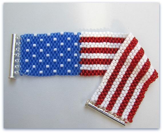 Usa flag beaded bracelet cuff bracelet 7 inch bracelet for Patriotic beaded jewelry patterns