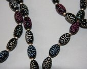 Antique  Long Hand Painted Glass Bead Mourning Necklace Oval Black Art Glass Beads Domino Design Antique Necklace