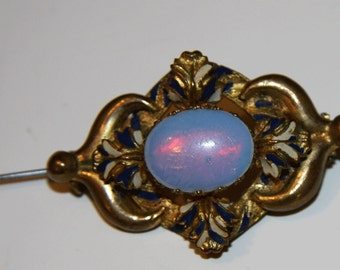 Victorian Opalite Brooch Enamel Gold Gilt  Pin Antique Antique Dragons Breath Pin