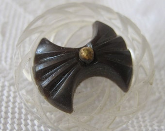 VINTAGE Black Carved Bow on Clear Plastic Pin Shank BUTTON