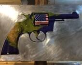 "Title: ""Colt .38"", Earth Gun, Climate Change, 2nd Amendment, Mixed Media, Metal Art  32x48"""