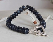 Beautiful Faceted Iolite Bracelet .925 Sterling Silver Toggle Clasp