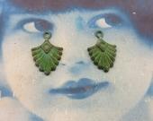 Verdigris Patina Brass Deco Drop Charms 638VER x2