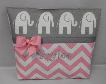 Pink CHEVRON     ..  ELEPHANT   ...  TOTE ...  Diaper Bag ... ..  Monogrammed  FReE