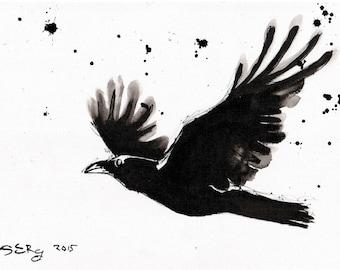 Raven Art - Ink painting on canvas A4 - Raven flight black white splatter