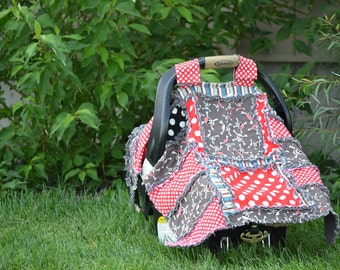 Carseat Canopy Pattern - Addy Mae Rag Quilt Pattern - Simple Quilt Pattern - Easy Quilt Pattern - Carseat Cover Pattern - Baby Present Ideas