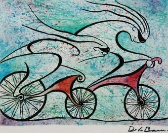 Deportistas Original watercolor 35x25cm.