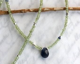 Sapphire and Peridot Necklace in Sterling Silver