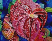 Valentine Heart Red Anthurium Reverse Acrylic Painting by Marionette from Kauai Hawaii Hawaiian flower
