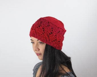Cloche Red Hat Merino Wool Cherry Red Lace Hand Knit Woman's Red Knit Hat